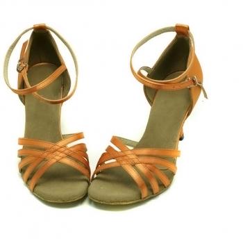 Orange five tape satin of Ladies Latin dance shoes