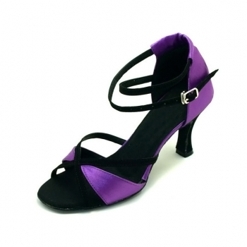 Fashion M Font Tiger satin(pink/red/Purple) of Ladies Latin shoes