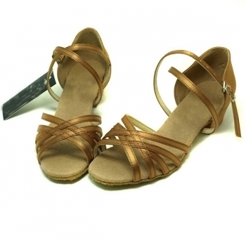 Five classic bronze with satin of Children Latin Shoes