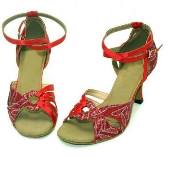 Flashing red satin leaf of Ladies Latin dance shoes- Red/blue/Oranger