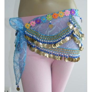 BellyDance Hip Scarf-Printing hanging coins &colorbeads