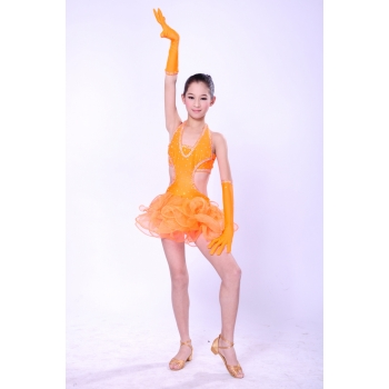 Child Girls/Ladies Latin dance dress-Over all dress in 3sets-Yellow