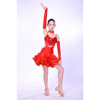 Child Girls/Ladies Latin dance dress-Over all dress in 3sets-Red
