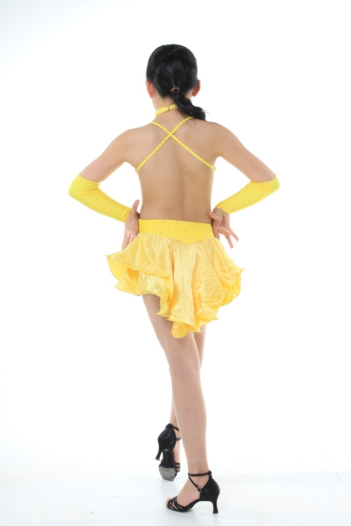 7b9999892 Child Girls/Ladies Latin dance dress-Over all dress in 3sets-Sky Blue/Yellow /Black