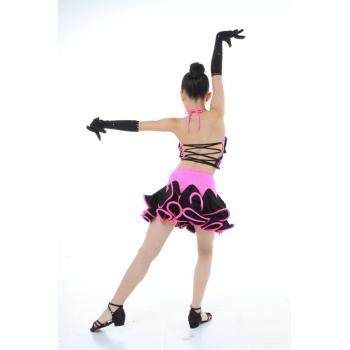 Child Girls/Ladies Latin dance dress-4sets(shirt+skirt)-Pink