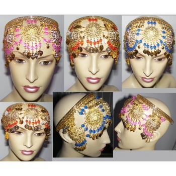 Gold Coin&color beads Chain head piece hat belly dancing