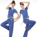 Leisure suit fitness yoga clothes(V-Neck Short-sleeved T-shirt+Pants w/h Belts tie)