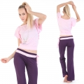 Yoga Casual Workout Clothes Winter Suits(Lotus sleeve T-Shirt+belts Pants)