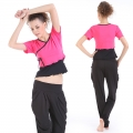 Yoga Casual Workout Clothes Summer Suits(Edge waves Rope Short sleeve T-Shirt+Harlan Korean Lantern Pants)