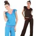 Yoga Casual Workout Summer Suits(Adjustable Sleeve/Beam sleeve V-neck T-Shirt+Pants)