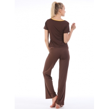 Yoga Casual Workout Clothes home Suits(Short-sleeved T-Shirt+Pants w/h Drawstring belts)